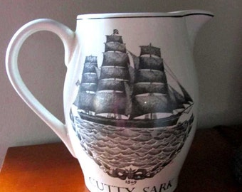 Cutty Sark ironstone pitcher - 1986 - Captain John Williams - Old White Hat - Barware - Vintage advertising - Water pitcher - Man cave