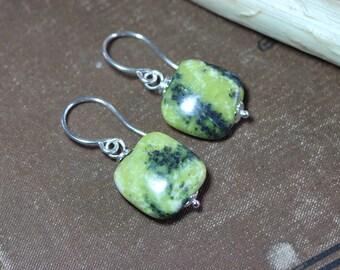 Green Serpentine Earrings Natural Green Earrings Green Stone Earrings Sterling Silver