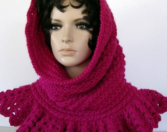 Crochet Hot Pink Fuchsia Hood Cowl Shrug Ruffled Shell Collar Design Versatile Accessory