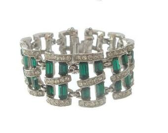 Emerald Bracelet, Designer Bogoff Vintage Cuff, Wide Statement Emerald Crystal Link, 1940s Fine Vintage Wedding Jewelry