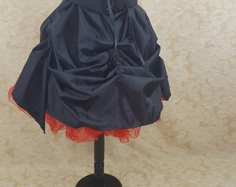 BLACK FRIDAY SALE Black Knee Length Tie Bustle Skirt-One Size Fits All