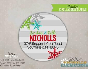 Colorful Snowflake Christmas Address Label, Custom Return Address Holiday Envelope Sticker, Red, Green, Grey
