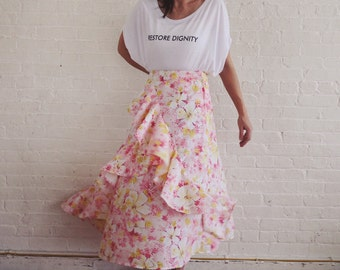Bias skirt with detail { pink hibiscus }