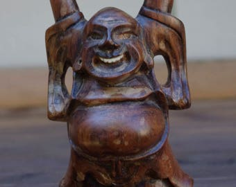 Vintage Laughing Buddha Carved Wood