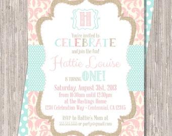 Shabby Chic Pink Girl Birthday Invitation, Girl Birthday Invite Burlap Pink Aqua, 5x7 JPG PDF