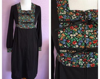 Black Peasant Dress with Floral Yoke 70s Long Sleeve Dress Small Bohemian