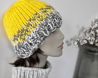 Chunky Yellow Hat Beanie Women's Warm Accessories for Fall and Winter