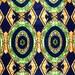 African Fabric 1/2 Yard Cotton Wax Print BLUE ORANGE GREEN Abstract Circles