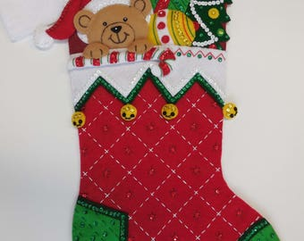 Finished Christmas Stocking - Peek-A-Boo - NEW DESIGN