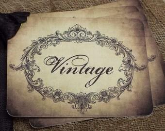 Aged Vintage Script Gift or Scrapbook Tags or Magnet #245