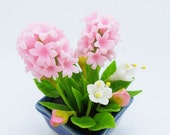 Sweet Hyacinth Miniature Polymer Clay Flowers Supply for Dollhouse and Wedding Gifts