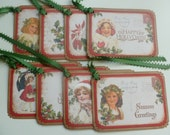 Christmas gift tags vintage style hand stamped vintage children Happy Hollydays  Seasons Greetings red and green traditional - set of 8