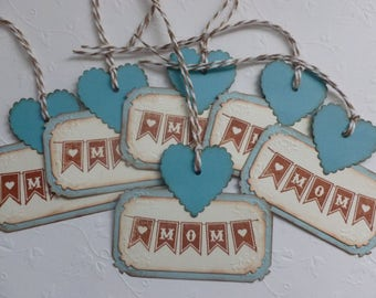 Mothers Day tags, gift tags, vintage style, hand stamped, teal and brown, Mom pennant, banner, heart - set of 6