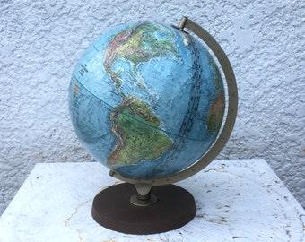 "Vintage Replogle ""World Book Globe"" 12"" Globe, Burnished Gold Metal Stand/ Round Plastic Base"