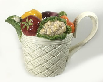 "Vintage Fitz & Floyd ""Vegetable Garden"" Pitcher,  1.5 Quart, Vegetables Rim, White Basket Weave, 1995"