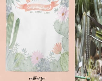Bridal Shower Backdrop, Cactus Decor, Wedding Backdrop Curtain, Engagement Backdrop Curtain, Bridal Shower Decorations / W-A05-TP MAR1 AA3