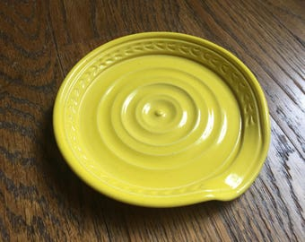 Spoon Rest in Yellow - Stoneware Ceramic Pottery
