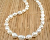 White Pearl Necklace Chunky Pearl Necklace Big Pearl Necklace Freshwater Pearl Natural Pearls Baroque Pearl Necklace Rare Find Pearl Jewelry