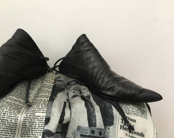 Ann Demeulemeester bruja zapatos negro vintage de cuero
