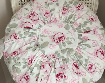 Rare Simply Shabby Chic Rosalie Pink Roses Floral - Big Round Feather Porch Pillow