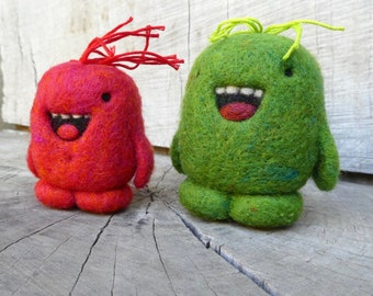 One Of a Kind Needlefelted Red and Green Holiday Party Wooly Toys