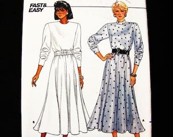 Womens Tea Dress Pattern UNCUT Misses size 8 10 12 Classic Dress, Loose Bodice, Gored Flared Skirt Dress Sewing Pattern