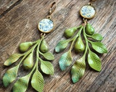 pear branch vintage finding earrings vintage playing card flowers repurposed eco fashion festive holiday gift christmas gift long earrings