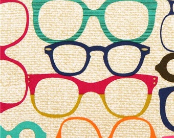 179154 beige-brown retro glasses fabric by Michael Miller