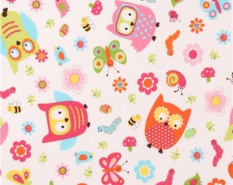 206193 white cute colorful owl insect flower fabric Whooo Loves You