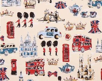 203064 cream Great Britain London Bridge oxford fabric by Kokka