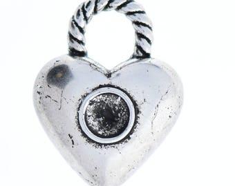 Heart Charm,  21mm Heart Pendant/Drop w/6mm Set, Twisted Loop, antique silver , 6ea  09895AS