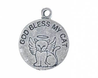 St Francis Bless Cat Charm , 22mm,  sold by 2 each P4125CS