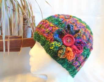Green Handspun Cable Beanie. Knit Hat. Bright Colors Hat. Snow Hat. Orange. Red. Purple. Beanies for Women. Primary Colors. Optional Flower.