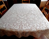 Reserved for  Suzanne Vintage  Wedding Lace Tablecloth Possibly Quaker Lace Overlay Lace Tablecloth ECS SCFT