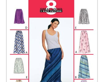 Misses Pull-On Bias Skirts In Two Lengths McCalls Pattern 2255 Size 10-12-14