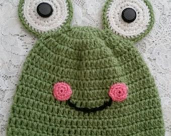 Crocheted Infant Frog Hat