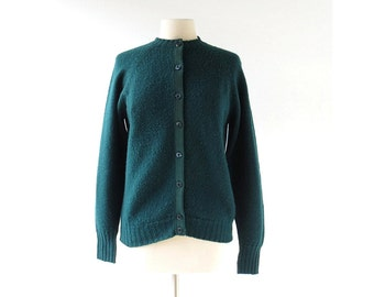 Vintage Pendleton Cardigan | Forest Green Cardigan | 60s Sweater | M L