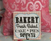 "Sale Miniature Bakery Fresh Baked Sign 2""x2"" canvas"