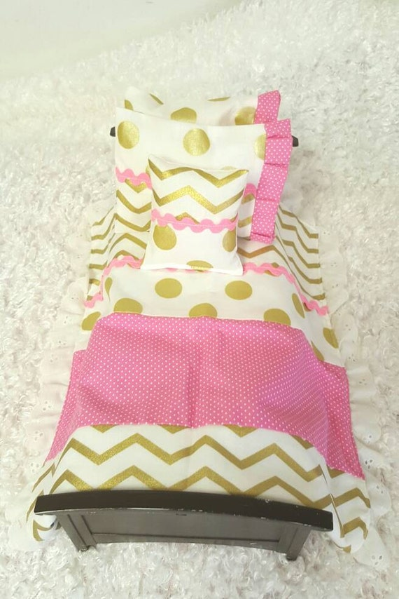 Pink and Gold Barbie or Blythe Doll Bedding