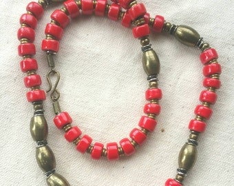 Bold Red Ceramic & Brass Beaded Necklace