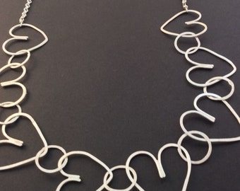 Heart chain necklace, hand hammered sterling silver