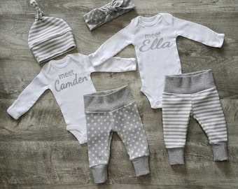Two Personalized Coming Home Outfits. Boy Girl Twins Welcome Home Outfits. Meet (baby name)  Jogger. Top Knot Hat & Headband.