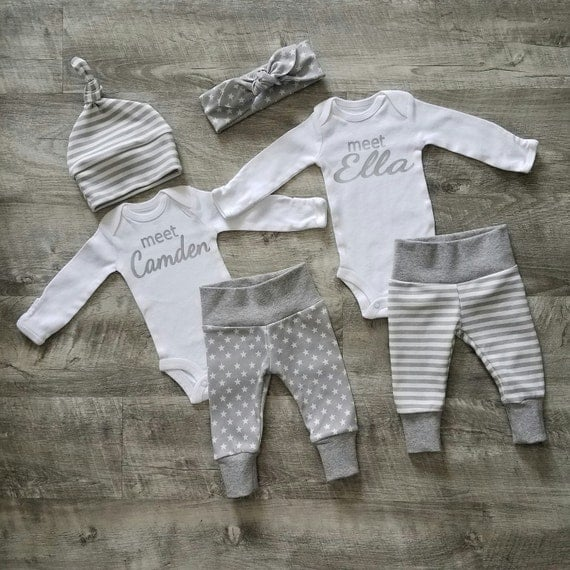 Two Personalized Coming Home Outfits. Boy Girl Twins Welcome