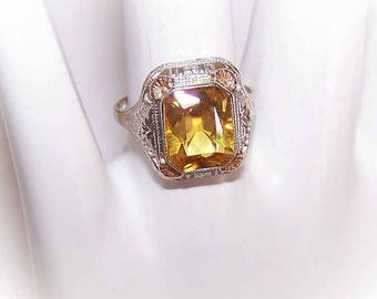 Vintage, ART DECO, 14K Gold, White, Yellow, Gold, Filigree, Citrine, Fashion, Ring, Birthday, Valentines, Mothers, Day, Gift, Item, Her