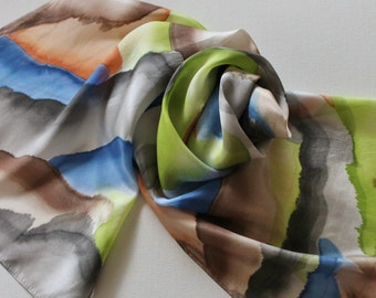 Hand Painted Silk Scarf - Handpainted Scarves Blue Brown Black Orange Lime Avocado Green Peach Gray Grey Navy