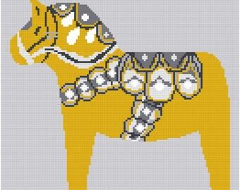 Cross stitch pattern DALA HORSE - orange,Scandinavian,cross stitch,needlepoint,embroidery,diy,burlap,burlap pillow,hessian,swedish,Anette E