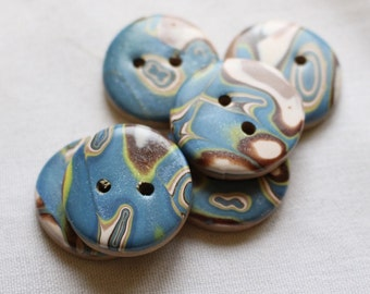 Large Handcrafted Blue, Brown and white 1 inch button No. 294