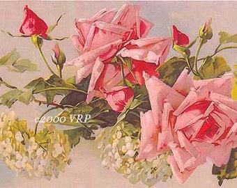 Victorian Pink Roses Hydrangeas, Art Print, Half Yard Long, Catherine Klein, Shabby Chic