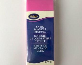 Wrights Satin Blanket Binding - BubbleGum Pink - Baby Pink - 4.75 Yards - Binding for Sewing - Brand New - NIP - Ships Quick