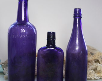 Large Purple BOTTLE LOT- Vintage Amethyst Glass- Instant Collection- Dark Purple Bottles- Rustic Decor- Red Top Whiskey Bottle- B24